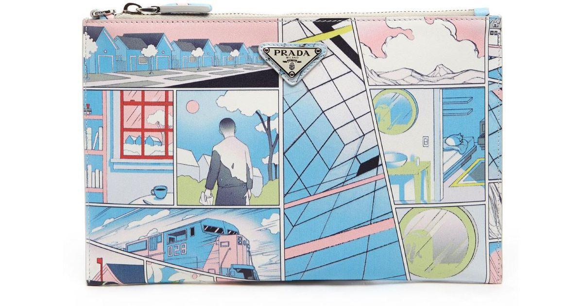7e9471e42f39 Prada 'comics' Clutch in Blue for Men - Lyst
