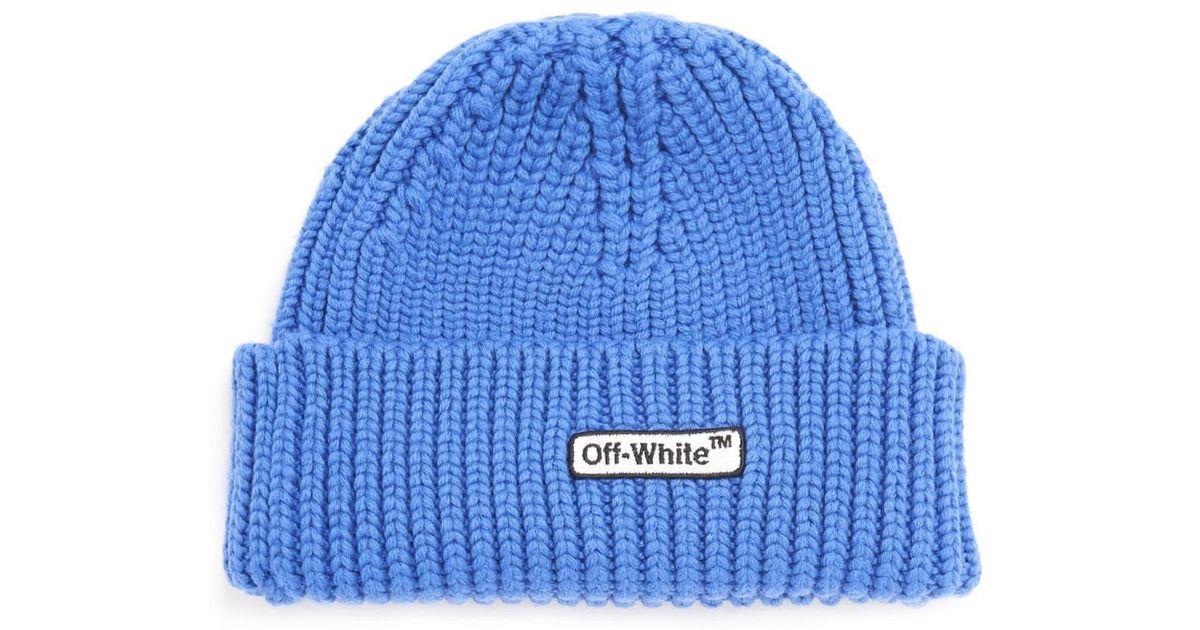 ea616947 Lyst - Off-White c/o Virgil Abloh Logo Beanie in Blue for Men