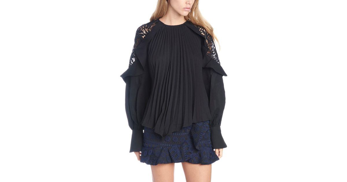 556c5842cf717 Lyst - Self-Portrait Lace Detail Pleated Blouse in Black