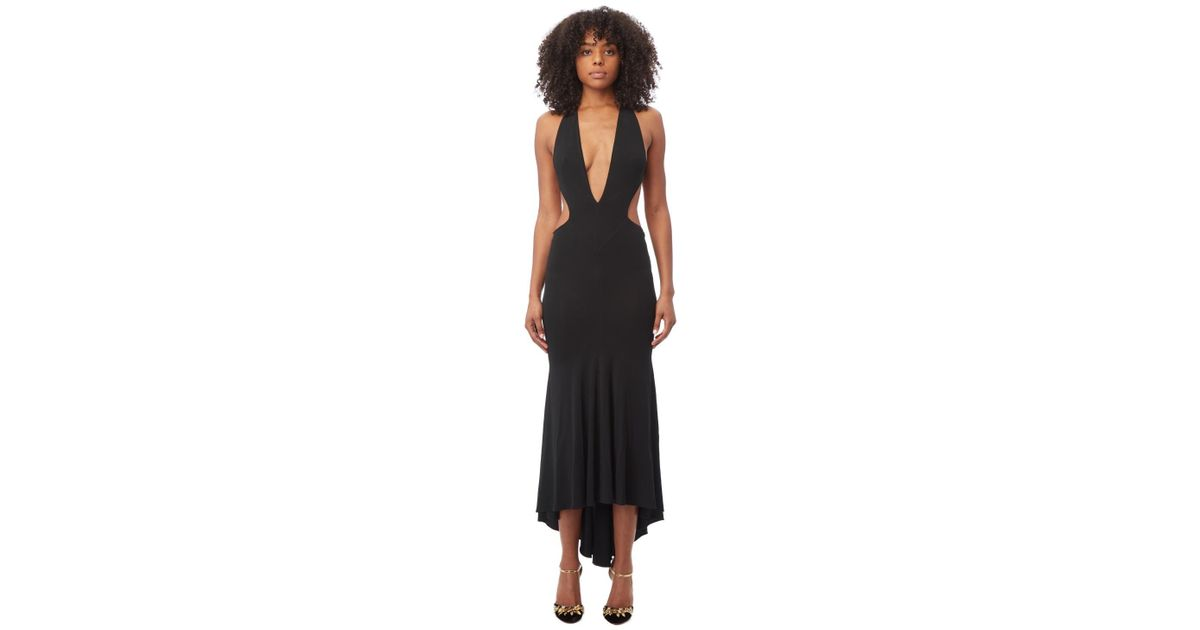 Lyst Alexandre Vauthier Deep V Neck Black Maxi Dress In Black