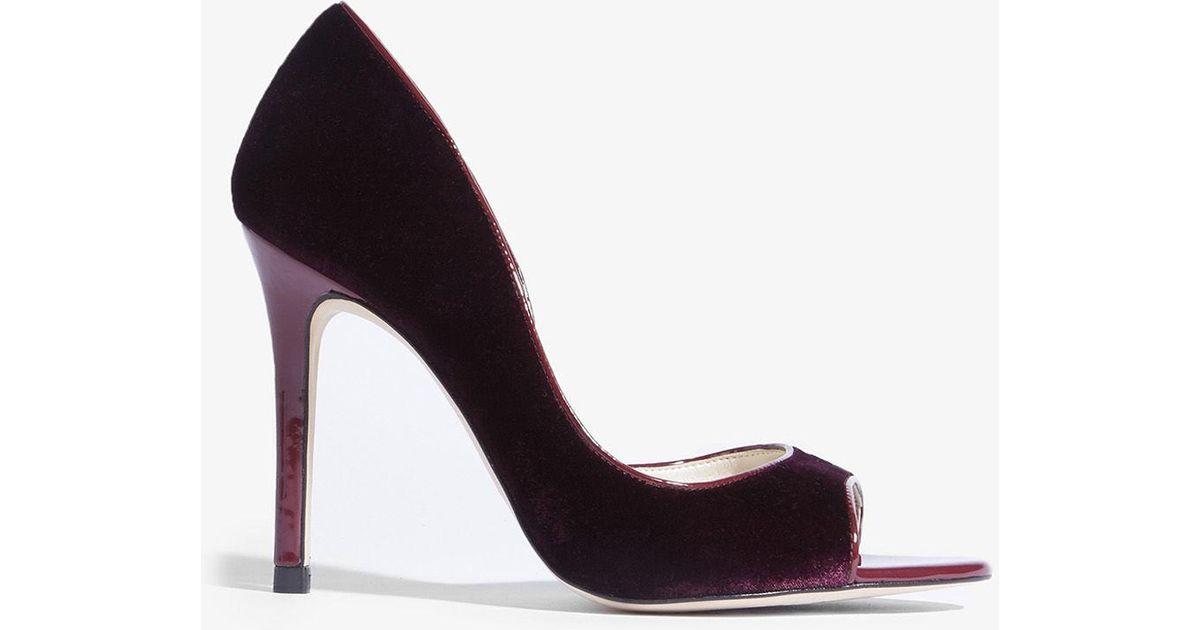 33bfd8bc381 Karen Millen Velvet Peep-toe Pumps in Purple - Lyst