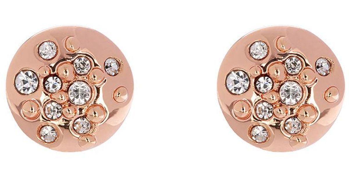 162b514b2 Karen Millen Crystal Sprinkle Stud Earrings - Rose Gold Colour in Metallic  - Lyst