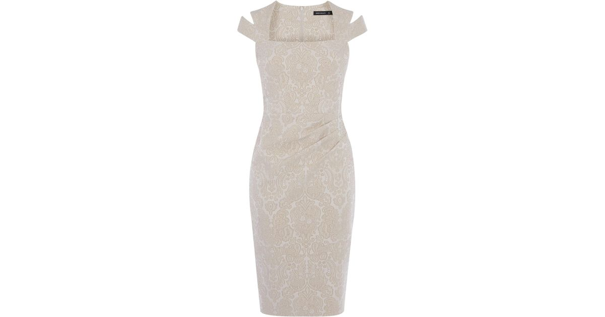 a5cd048135 Karen Millen Jacquard Pencil Dress - Champagne in Natural - Lyst