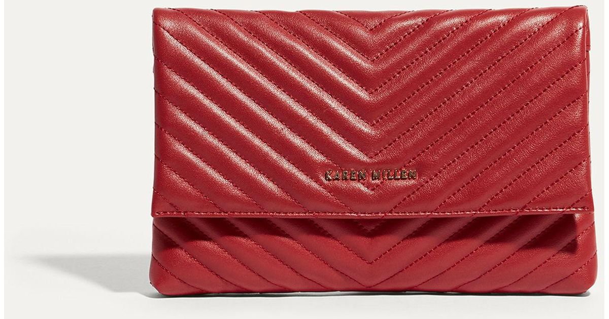 f29bd4adcf Lyst - Karen Millen Brompton Leather Clutch Bag - Red in Red