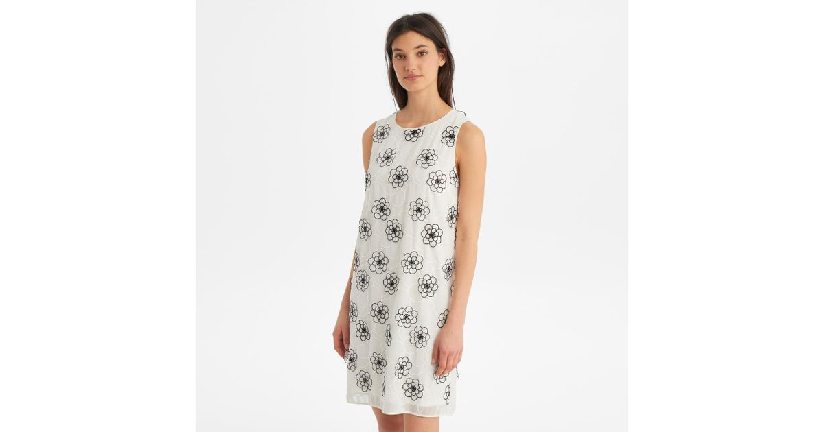 Lyst karl lagerfeld sleeveless floral applique dress in white