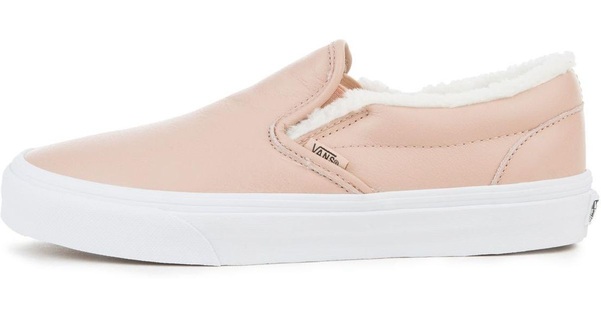 Lyst - Vans The Women s Leather Classic Slip-on In Mahogany Rose And True  White 3fe10a00d