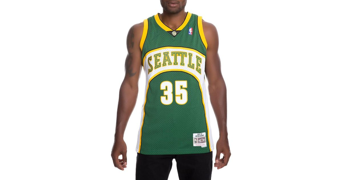ca73e6903fb Lyst - Mitchell   Ness Men s Supersonics Kevin Durant Jersey in Green for  Men