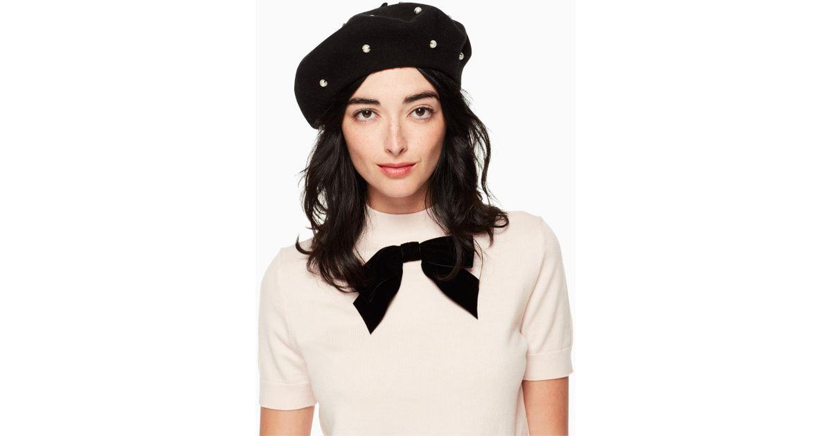 Lyst - Kate Spade Pearl Beret in Black eac12951628
