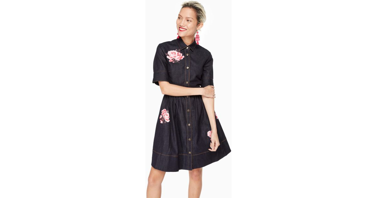 3bcf2c45f6 Lyst - Kate Spade Rose Denim Shirtdress in Blue