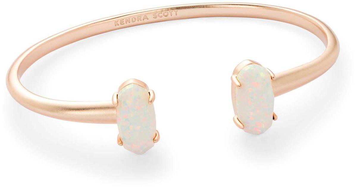 9e1480ee043f7 Kendra Scott - Edie Rose Gold Cuff Bracelet In White Kyocera Opal - Lyst