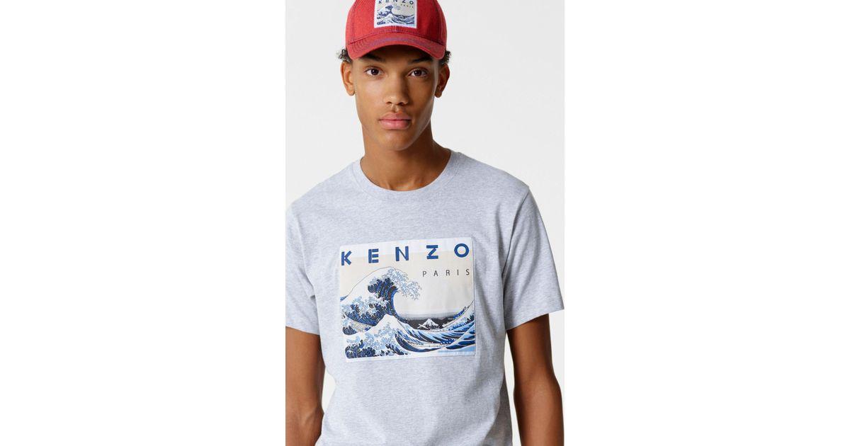 d3785e86a9c2 KENZO 'kanagawa Wave' T-shirt in Gray for Men - Lyst