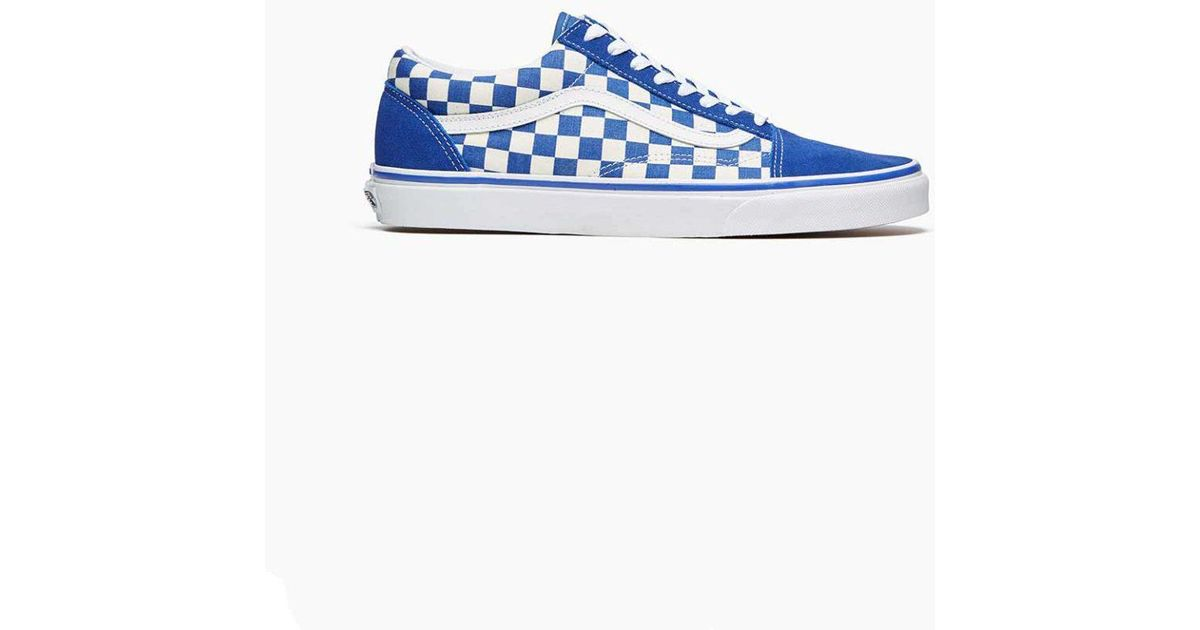 82f56f8bf9b3ce Lyst - Vans Vans Old Skool Blue  White Checkerboard in Blue for Men