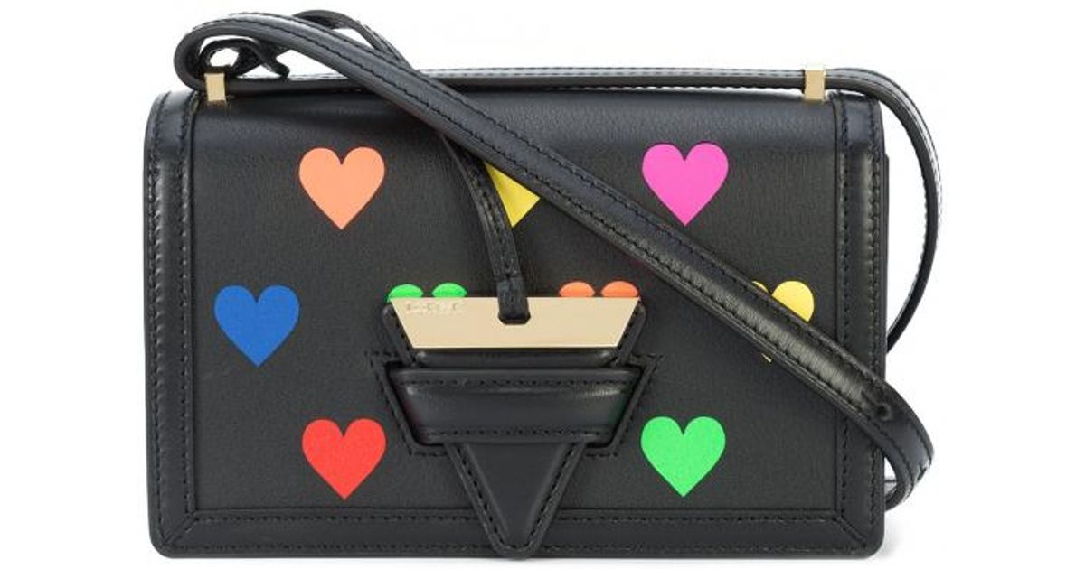 Barcelona Hearts Small Bag in Black Multicolour Classic Calfskin Loewe DrRK1KO