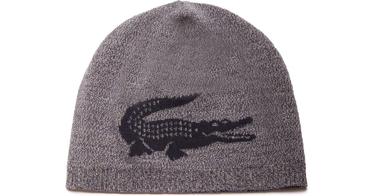 0d72fd2a644d Lyst - Lacoste Jacquard Crocodile Wool Beanie in Blue for Men