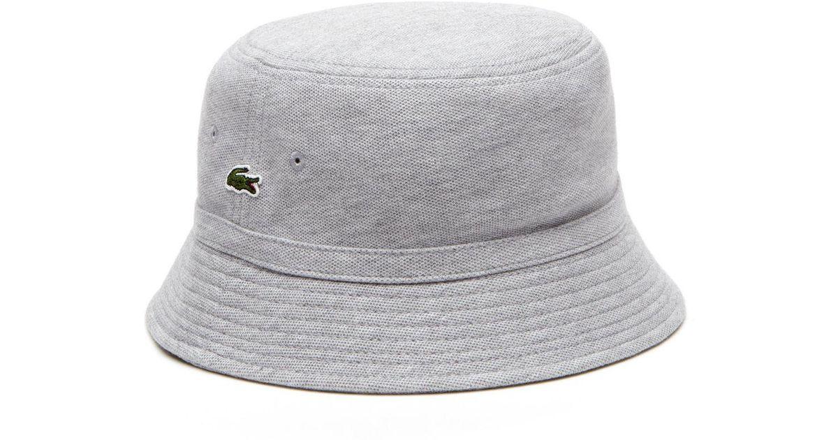 d1a7f3e6 Lacoste Cotton Piqué Bucket Hat in Gray for Men - Lyst