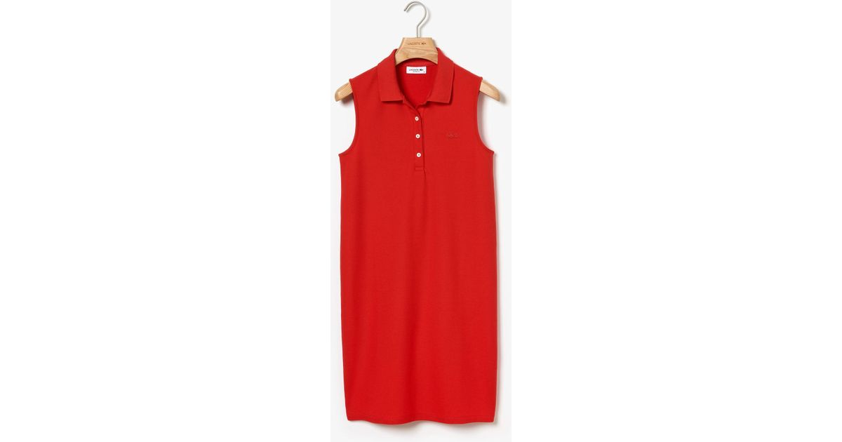 1542076f1bcef0 Lyst - Lacoste Micro Piqué Polo Dress in Red