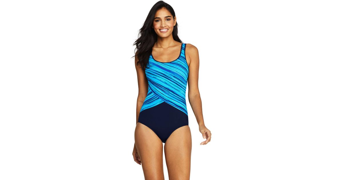 07867242fc11e Lands  End Printed Tugless Swimsuit in Blue - Lyst