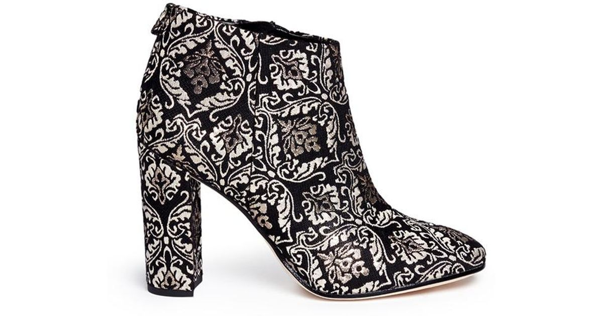 a95b73f876229 Lyst - Sam Edelman  cambell  Floral Damask Ankle Boots in Black - Save 66%