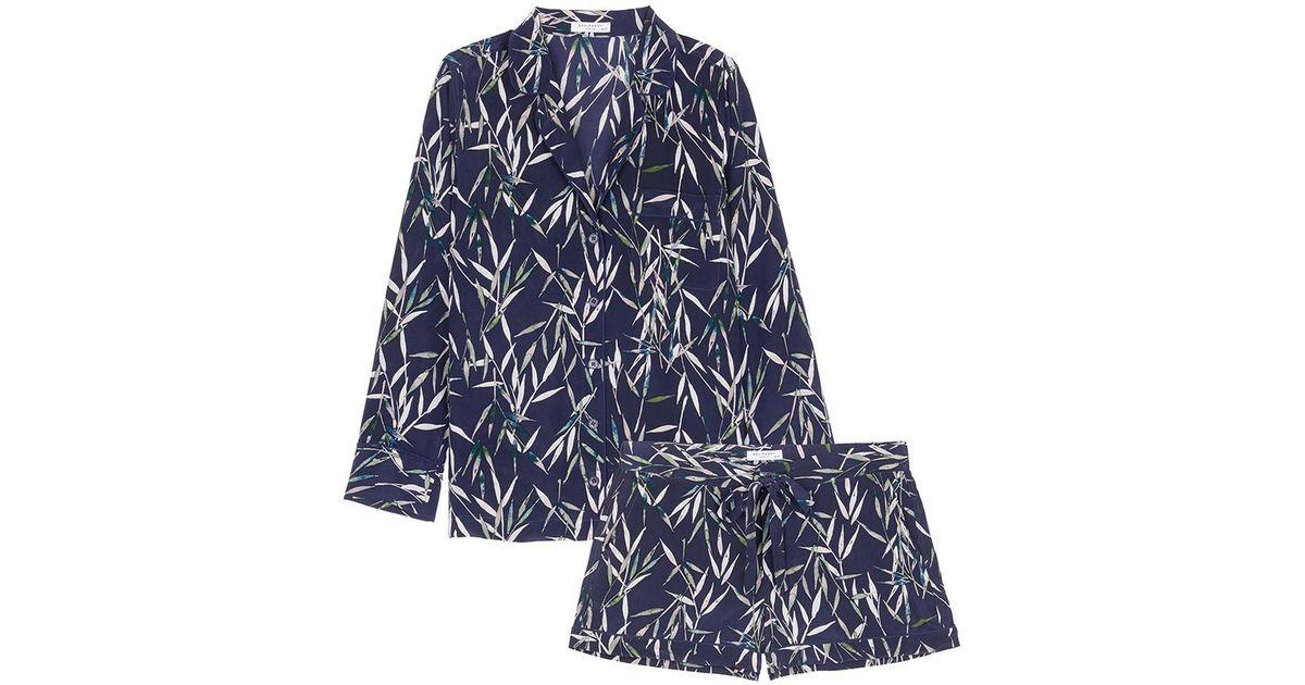 789fc9aa1d Lyst - Equipment  lillian  Bamboo Print Silk Crepe Pyjama Set in Blue