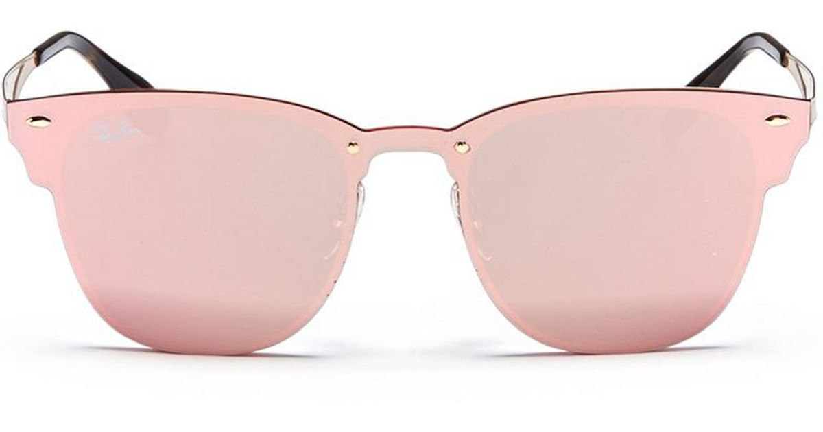 ddd2741cdc ... sale ray ban blaze clubmaster metal mirror sunglasses in pink lyst  cf685 f8974