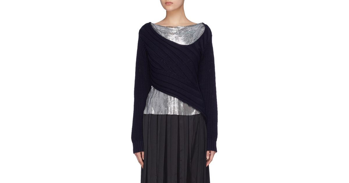 0aed7da7933c 3.1 Phillip Lim Chunky Chainmail-paneled Sweater in Blue - Lyst