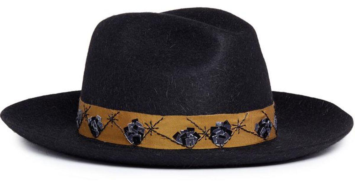 Lyst - My Bob  guni  Sequinned Mountain Rabbit Furfelt Fedora Hat in Blue  for Men f7dee65d81f