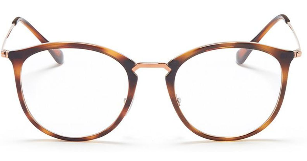 8c090648e0 Lyst - Ray-Ban  rb7140  Metal Temple Tortoiseshell Acetate Round Optical  Glasses
