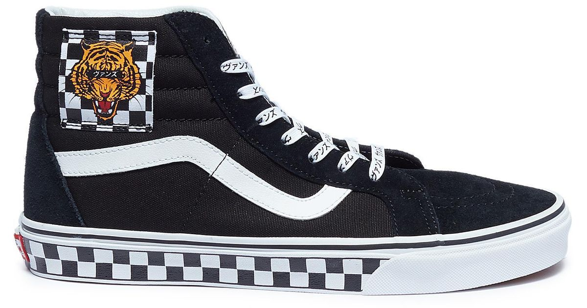 ccb201f19c3 Lyst - Vans  sk8-hi  Tiger Checkerboard Patch Suede Panel Canvas Sneakers  in Black for Men