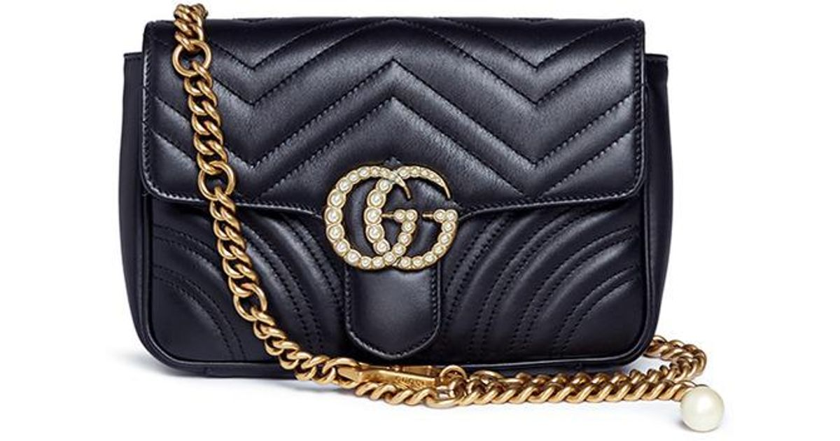 30a7c662e9fd Gucci 'gg Marmont' Pearl Logo Small Quilted Leather Crossbody Bag in Black  - Lyst