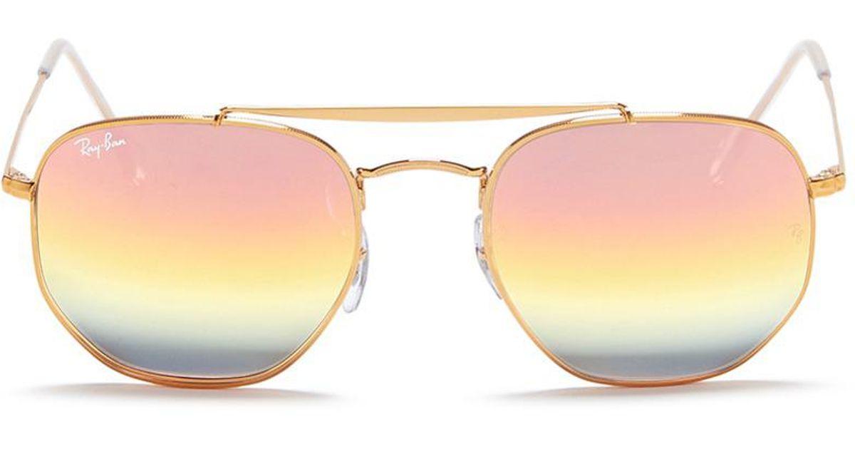 6b3442a9393 Lyst - Ray-Ban  marshal  Double Bridge Mirror Hexagonal Sunglasses