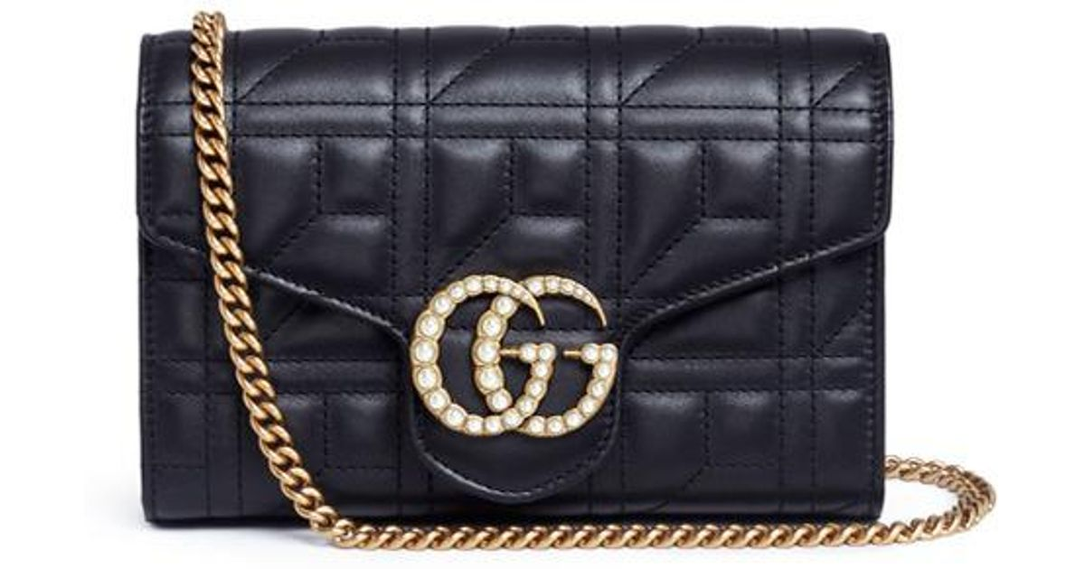 9d87011f1a8 Lyst - Gucci  gg Marmont  Pearl Logo Matelassé Leather Bag in Black