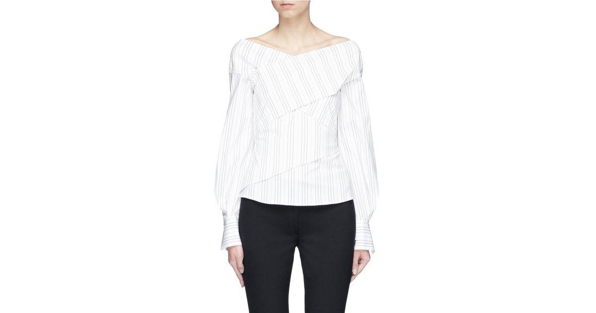 3c6bce39b52b2 Lyst - Theory Stripe Cotton Poplin Mock Wrap Top in White