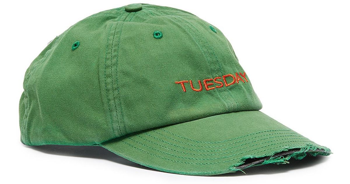 01585f6f7c3286 Vetements X Reebok 'weekday' Slogan Embroidered Distressed Baseball Cap in  Green for Men - Lyst