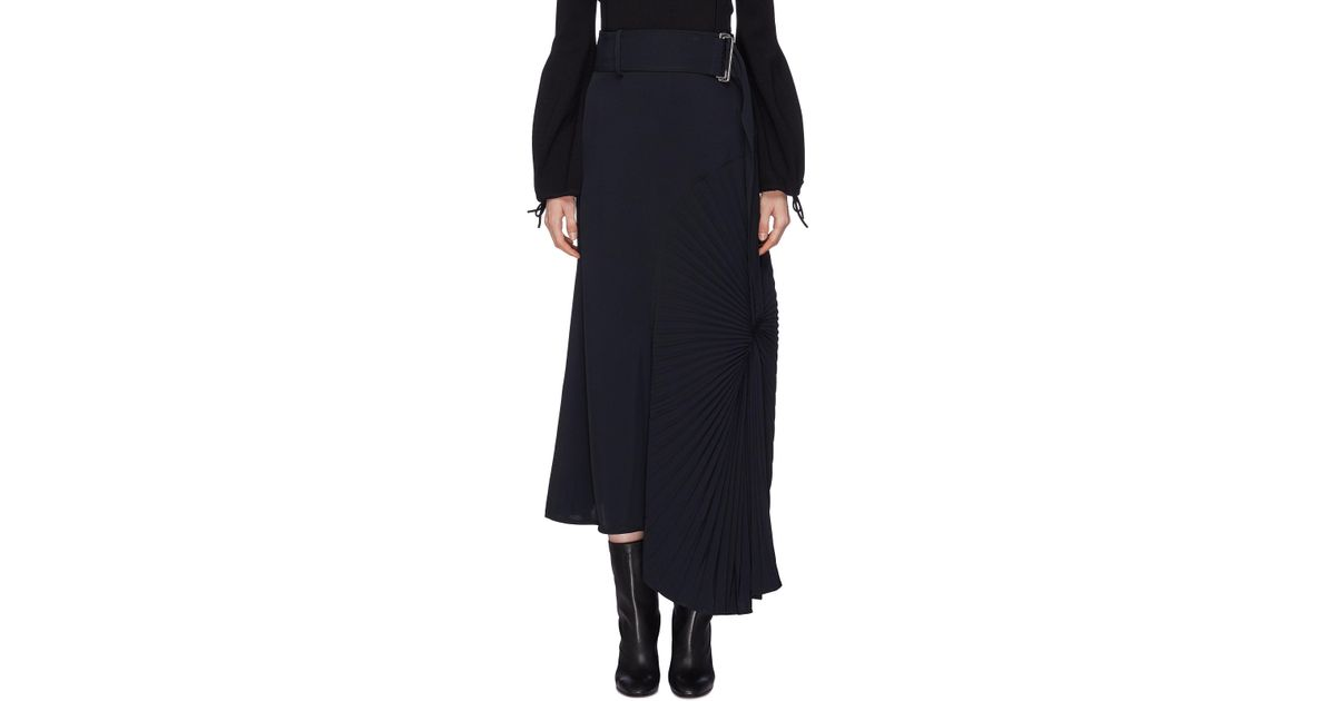 c0b64ac05 Victoria Beckham Plissé Pleated Circle Panel Belted Twill Midi Skirt in  Black - Lyst