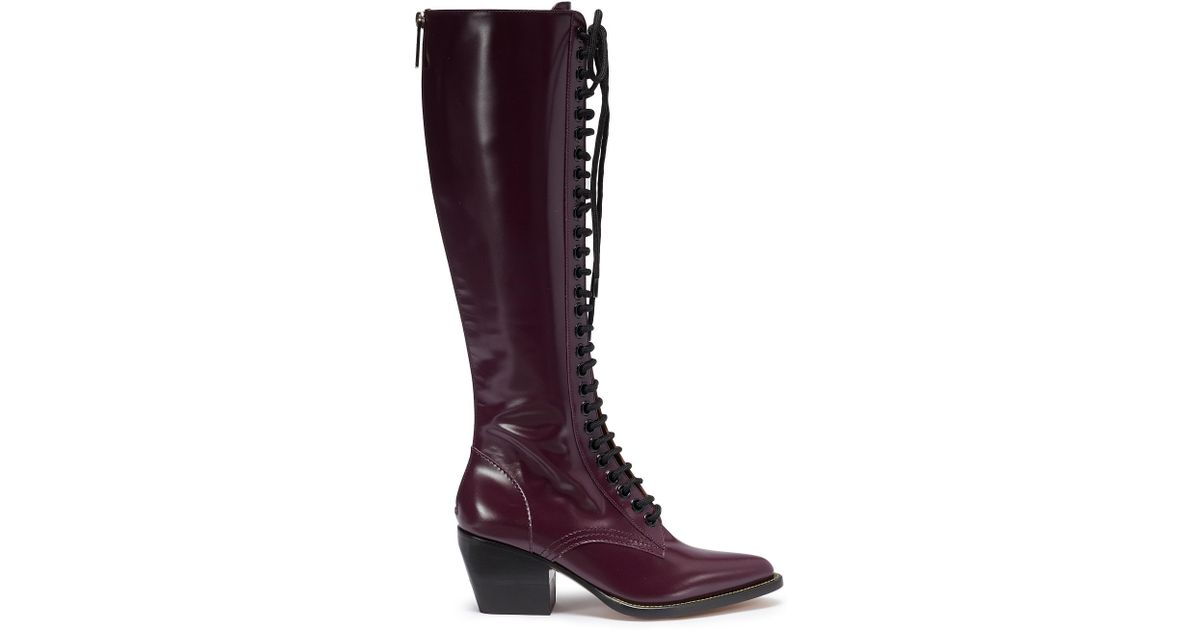b426689a392 Chloé  rylee  Lace-up Knee High Leather Boots in Purple - Lyst