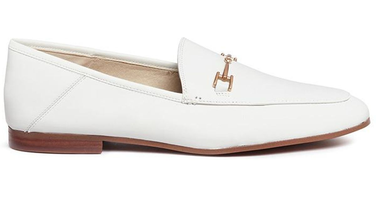 9e3dc577c571 Lyst - Sam Edelman  loraine  Horsebit Leather Step-in Loafers in White