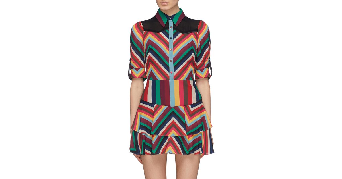 f5ff76a5d63 Alice + Olivia  hazeline  Yoke Panel Chevron Stripe Tiered Dress - Lyst