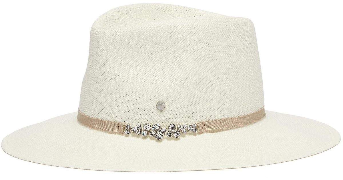 abd7ce3549241 Lyst - Maison Michel  charles  Glass Crystal Ribbon Straw Fedora Hat in  White