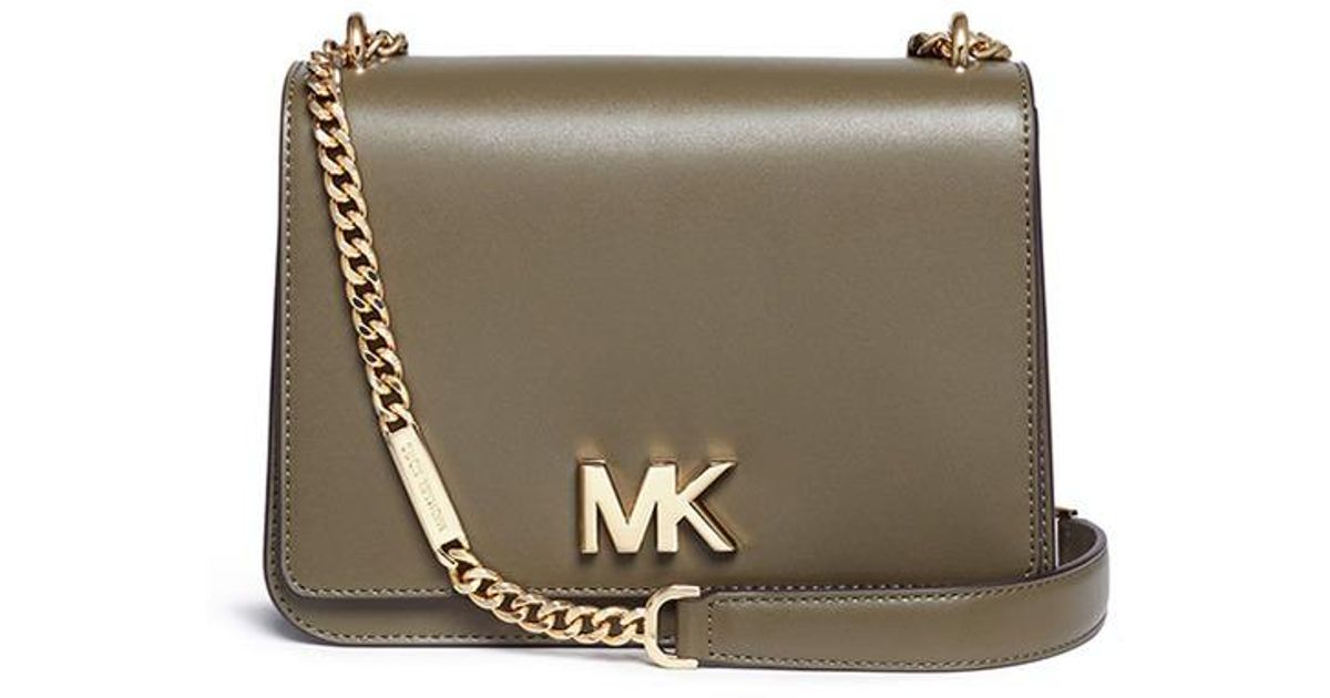 fab633aff3d1 ... coupon code for lyst michael kors mott large curb chain leather  shoulder bag in green 95136