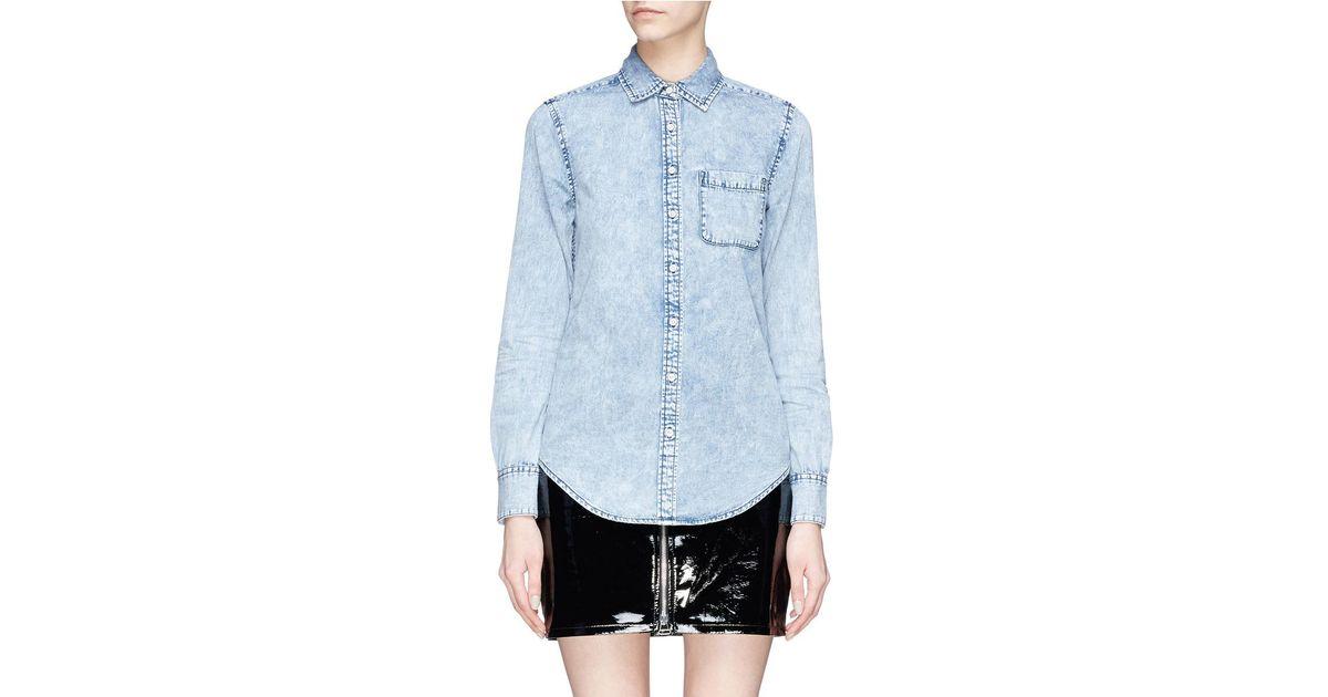 ed5a51e42bf Lyst - Rag   Bone  bleachout Classic  Chambray Shirt in Blue