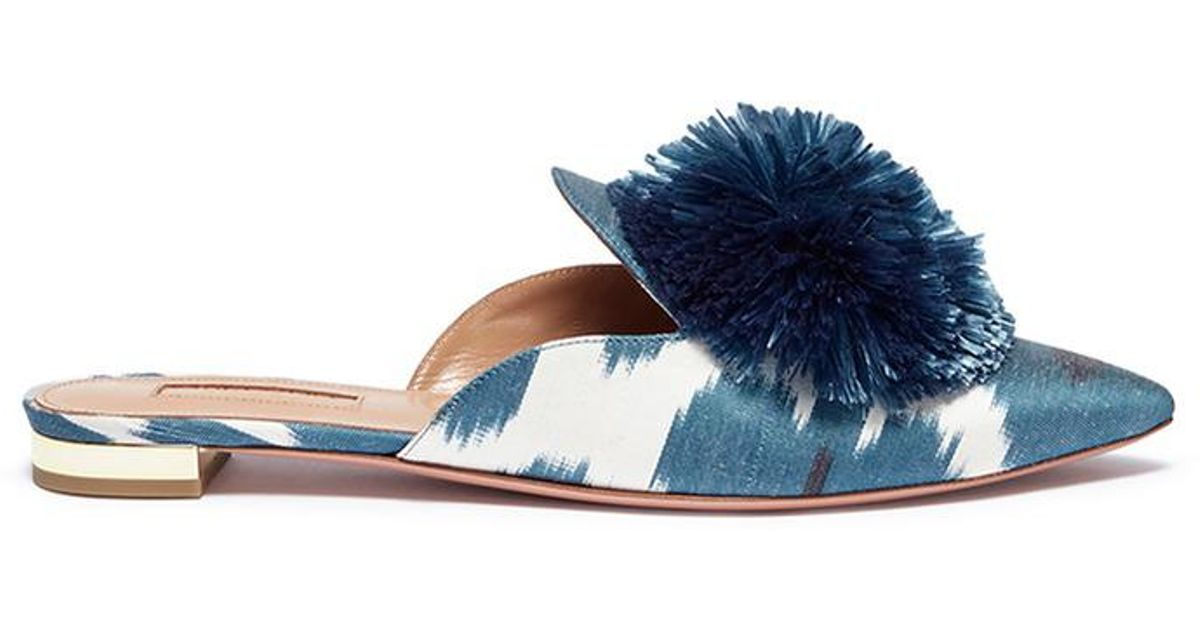 22da5266251 Lyst - Aquazzura  powder Puff  Pompom Ikat Print Twill Slippers in Blue