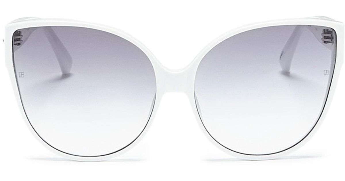 843124976077 Linda Farrow Acetate Oversized Cat Eye Sunglasses in White - Lyst