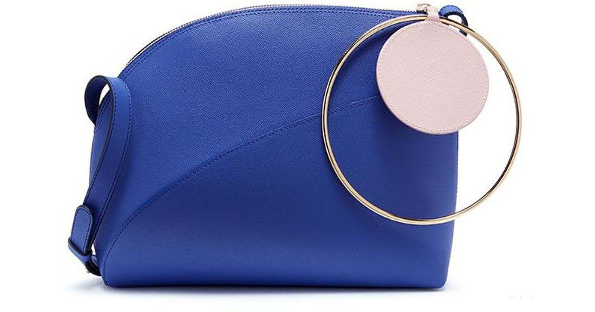 407b5aaba005 Lyst - ROKSANDA  eartha  Metal Ring Handle Medium Leather Clutch in Blue