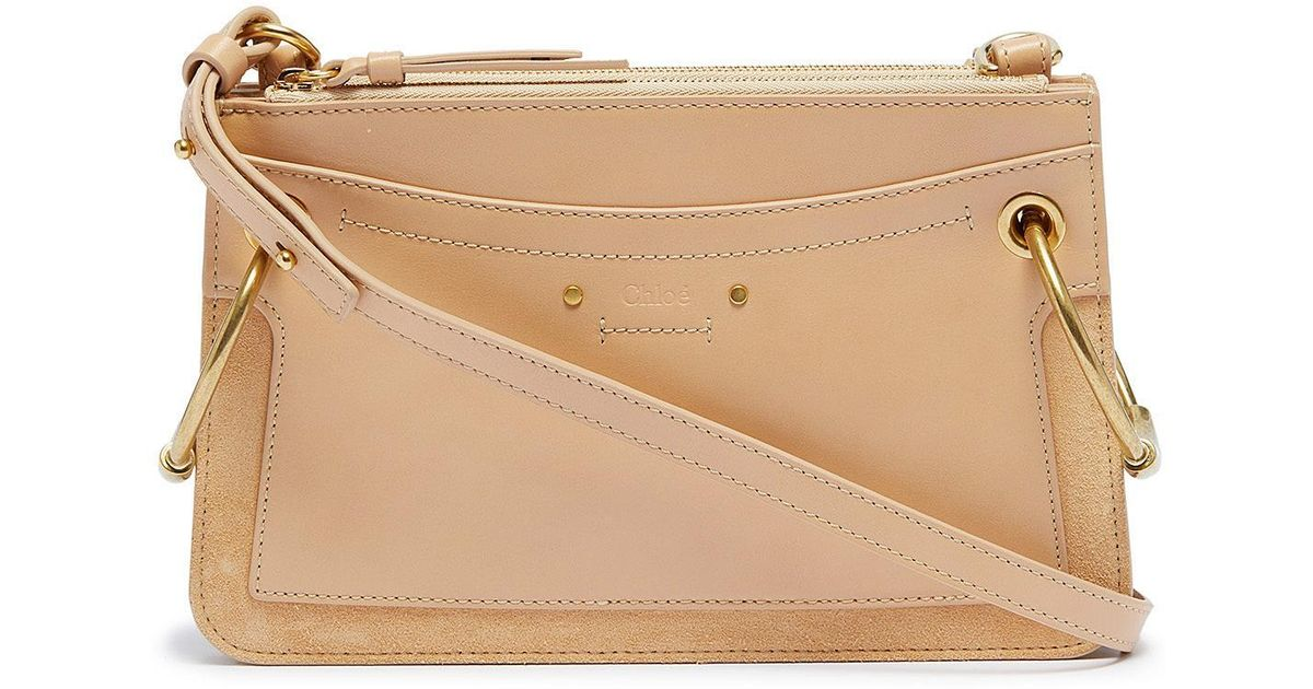 a2512541a Chloé 'roy' Ring Suede Panel Mini Leather Crossbody Bag - Lyst