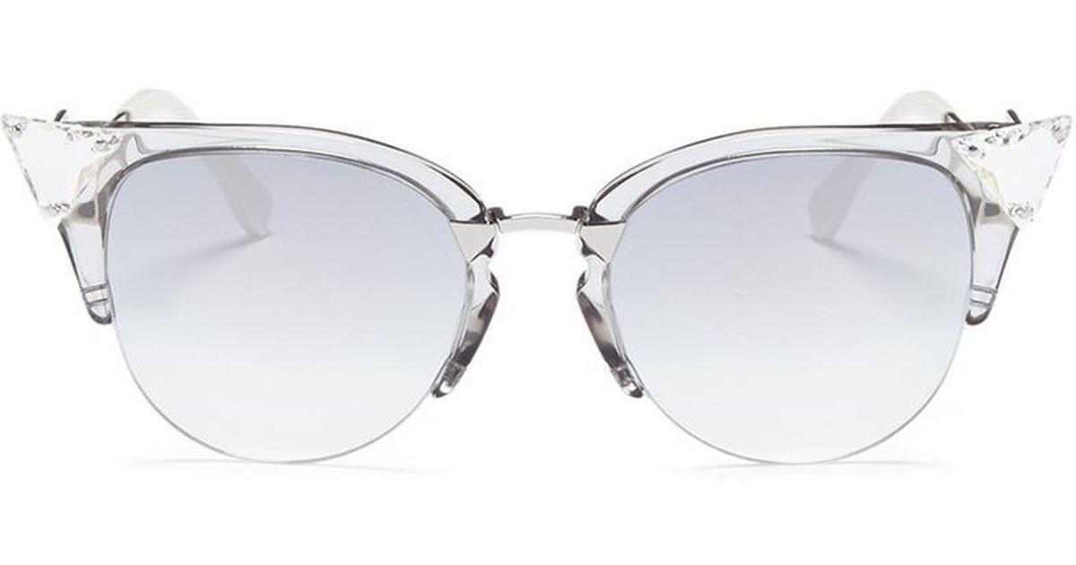 82037830c02c Lyst - Fendi  iridia  Crystal Corner Acetate Cat Eye Sunglasses in Metallic