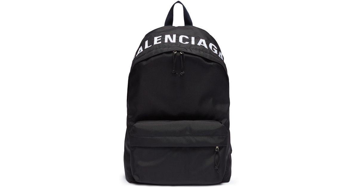 40cc838e91ec1f Balenciaga Logo Embroidered Nylon Backpack in Black for Men - Save 31% -  Lyst