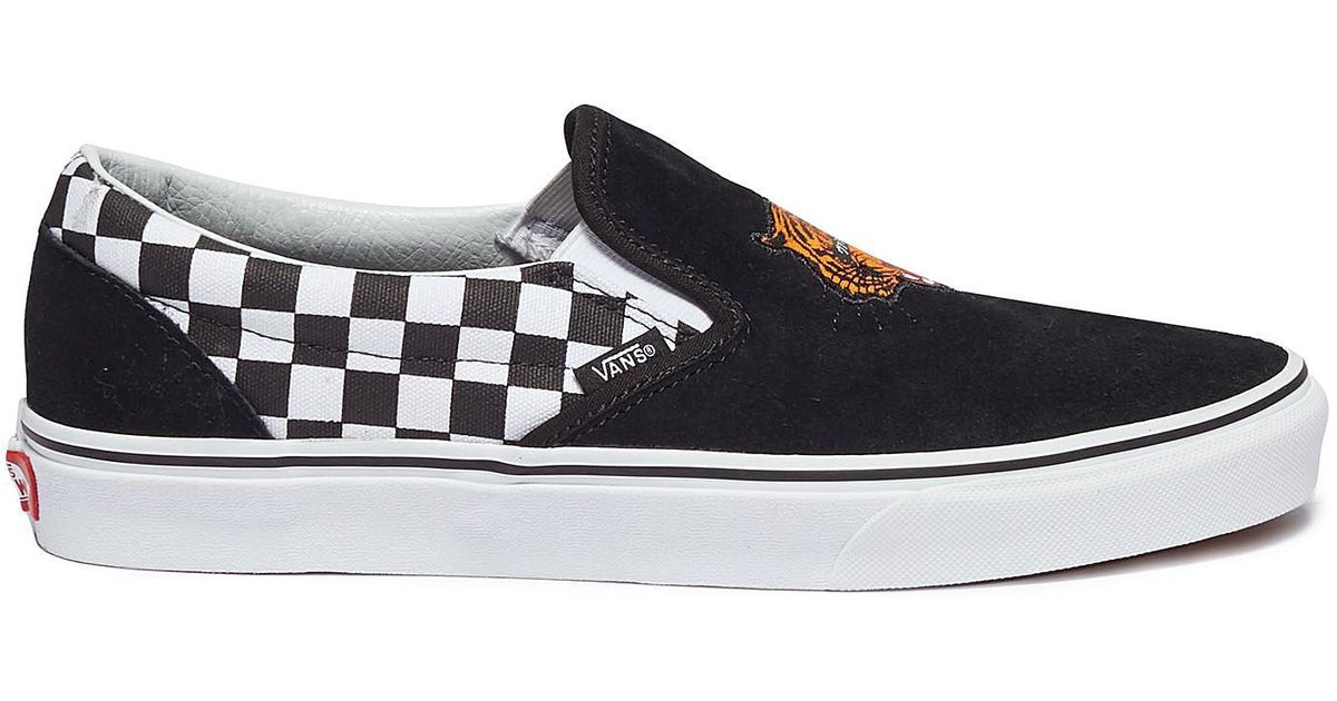 640c1a6f7ac Vans  classic Slip-on  Tiger Embroidered Checkerboard Panel Suede Skates in  Black for Men - Lyst