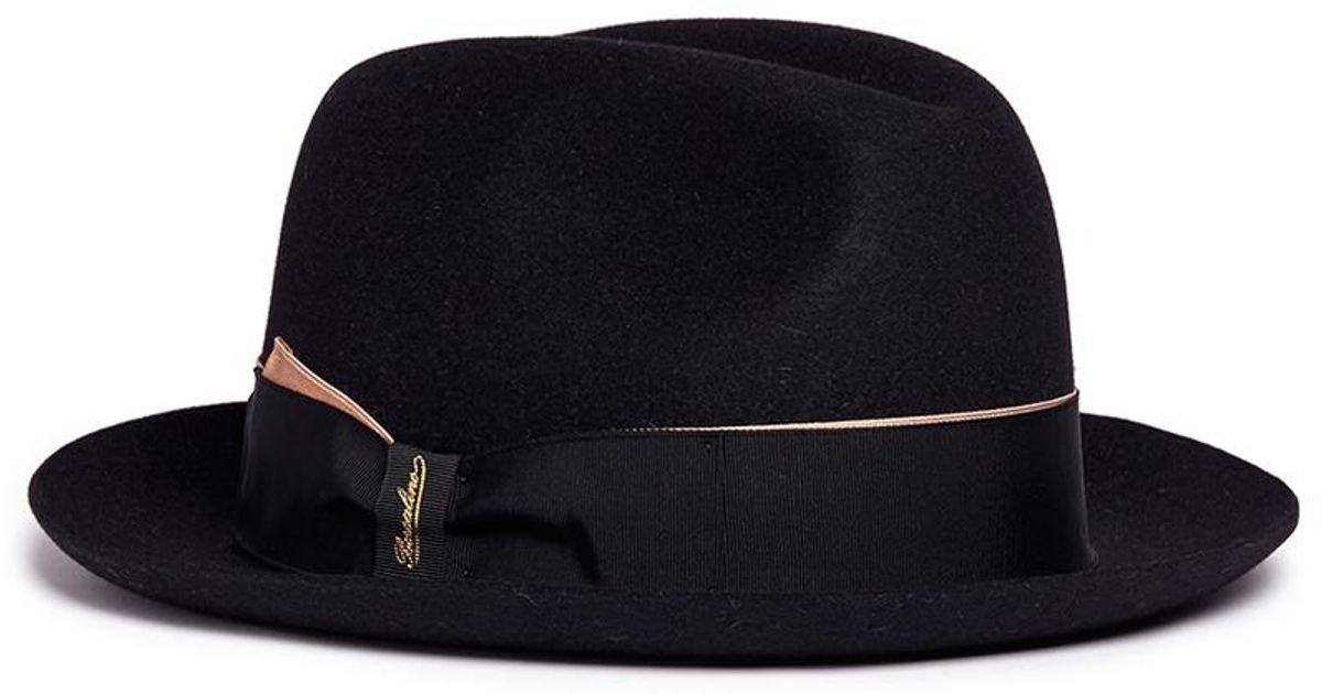 ce9ab143f590b Lyst - Borsalino  alessandria  Rabbit Furfelt Fedora Hat in Black for Men