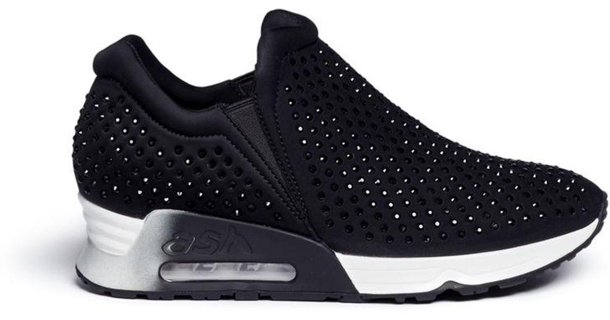 74be00c282cae Lyst - Ash  lifting  Hotfix Crystal Neoprene Sneakers in Black