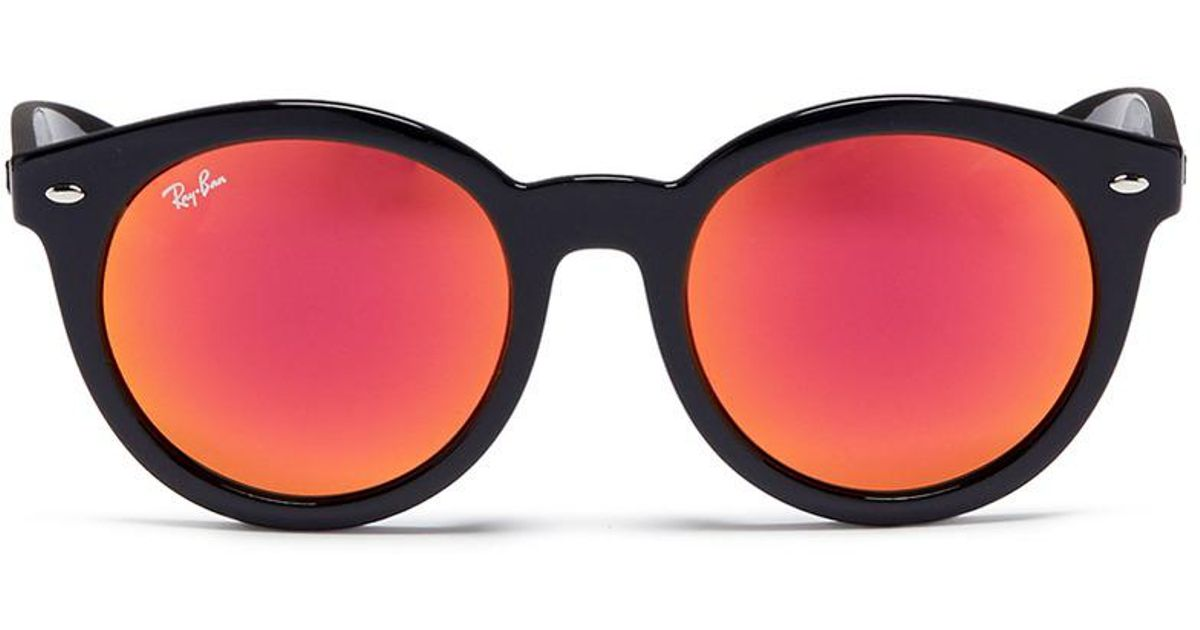 ed16cfeb37981 ... black red front view 33791 0561b  sweden lyst ray ban rb4261 acetate  round mirror sunglasses d1ff1 05b95